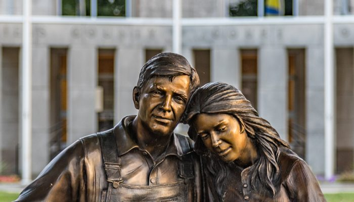 Statue of a Man and woman sitting on a bench