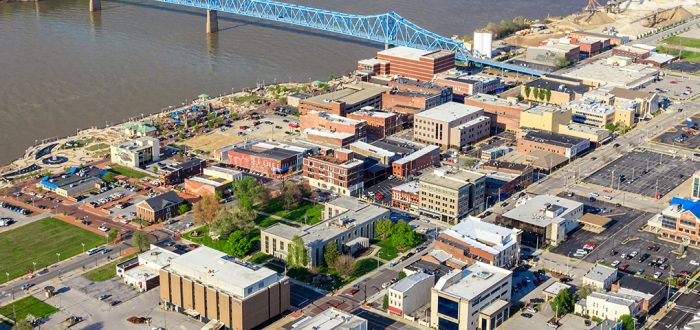 Aerial view of a Downtown Owensboro, Kentucky