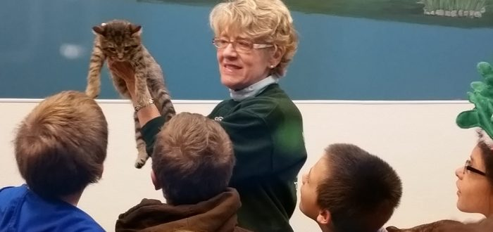 Woman with kitten teaches kids about animal adoption and welfare